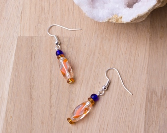 Orange swirl earrings - blue and orange bead dangle earrings | Orange jewellery | Funky jewelry | Colorful accessories