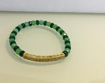 Rhinestone Elastic Beaded Bar Bracelet