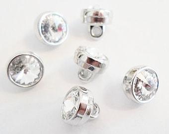 SALE: 6 Vintage Swarovski 7mm Buttons, Crystal with shank