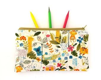 Cute pencil bag, Pencil pouch, Animal pencil case, Travel wallet, Cute gift for child, Zipper pouch, Panda, Giraffe, Tiger, Jungle, Colorful
