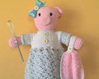 Pig CROCHET PATTERN Bag Holder Home Decor Pretty Piggy