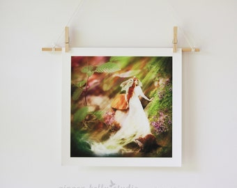 Goddess of Light Portrait, Woodland Stream Fairy tale Illustration Red Haired Woman with Owl, Giclée Print | Unframed