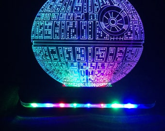 Star Wars Death Star Lighted LED Edge Lit Acrylic Sign with color changing LED and remote