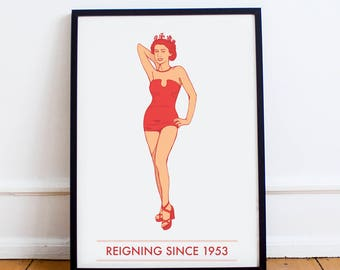 Pin up Vintage Queen Elizabeth Print | 1950s Art Print | The Royals | Pin up Girl