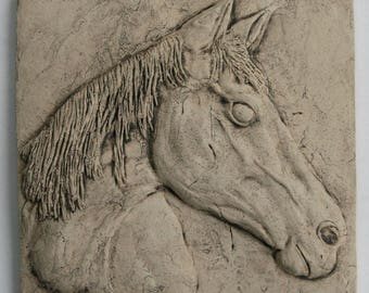 Ceramic Horse Tile in Bas Relief, Horse Lovers Gift, Equestrian Gift, Horse Head, Horse Stoneware Sculpture, Horse Art, Horse Tile