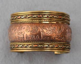 Kupfer & Messing Elefanten Motiv Manschette Armband Vintage