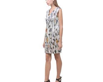 Floral V-Neck Sleeveless Dress- Women