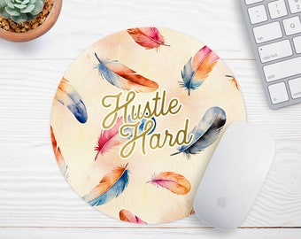 Boho Mouse Pad  Hustle Mouse Pad Watercolor Mouse Pad  Office Desk Accessories  Mouse Pad Gold Office Decor for Women Personalized Mousepad