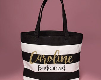 Cute Personalized Custom Bridesmaid Black & White Large Canvas Tote with Name