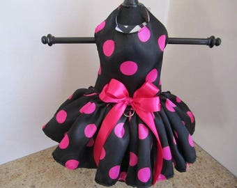 Dog Dress Black With Hot Pink polkadots
