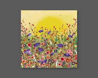 "Original Painting 'Hello Sunshine' in Acrylic Painted on High Quality Boxed Canvas (20"" x 20""/ 500mm x 500mm)"