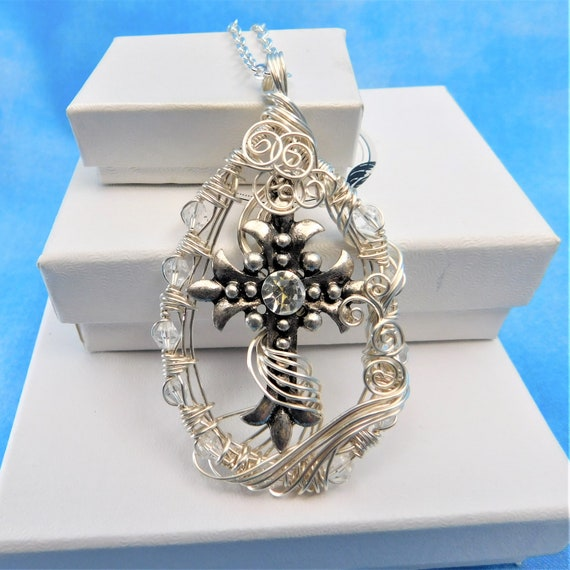 Christian Cross Jewelry for Women Inspirational Necklace Religious Pendant Unique Wire Wrapped Artisan Crafted Jewelry Spiritual Theme Gift