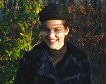 Black Wool Veiled Hat 40's-50's Vtg