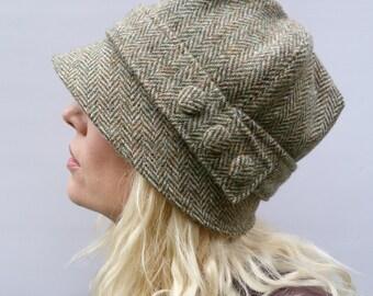 LAST ONE size large - Harris Tweed Cloche Hat - Green/Beige Herringbbone, Women's Hat, Fabric Hat, Wool Hat
