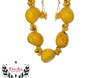 Tagua, melon and coffee seeds Short Necklaces- exclusive designs handcrafted