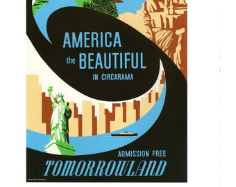 Vintage Disney Parks Poster Print America The Beautiful Disneyland 11 X 14