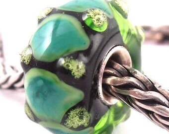 loversofbeads SRA artist handmade euro big hole lampwork glass bead with sterling silver core - Made To Order - T329