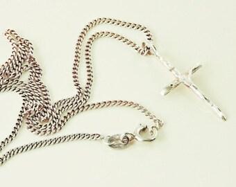 "Sterling Silver Laser Cut Cross Pendant Necklace 16"""