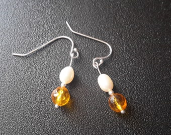 Sterling Silver Citrine and Pearl Earrings