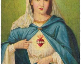 Holy Prayer Card / Virgin Mary / Sacred Heart of Mary / Madonna Prayer Card / 3 sizes/ Digital Paper Instant Download/ Vintage Ephemera