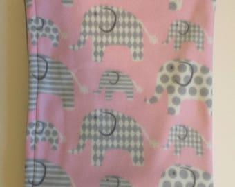 Fleece elephant baby/toddler blanket