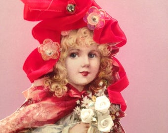 Victorian Christmas Ornament, Victorian Handmade Ornament, Doll Ornament, Victorian Ornament, Shabby Chic Ornament