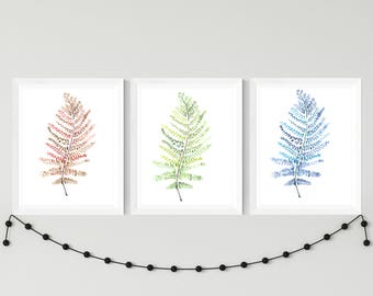 Blue Watercolor Fern Painting Digital Download