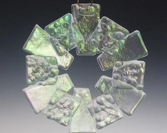 TRACK Crystalline Clear Iridized Snowflake, Fused Glass Ornament Suncatcher