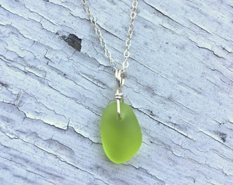 Citron Colored Sea Glass Silver Necklace