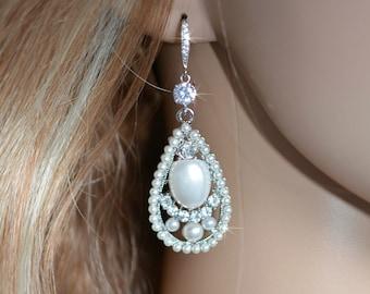 CLEARANCE Vintage Inspired Art Deco Pearl & Crystal Rhinestone Chandelier Earrings, Wedding, Bridal (Pearl-326)