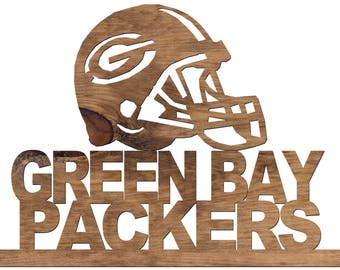 Green Bay Packers Helmet and Name Handmade Wooden Decorative Plaque