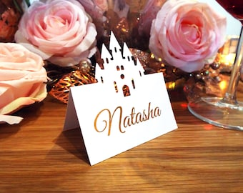 SAMPLE Laser Cut Castle Place Cards. Real Foil Rose Gold Silver Wedding Tented Name Cards. Swirl Wedding Table Cards.