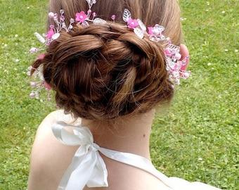 Swarovski flower crystal wedding hair vine