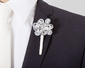 Mirrored Boutonniere - Extra Large - Grooms Boutonniere - Silver Boutonniere - Wedding Boutonniere - Bling Boutonniere