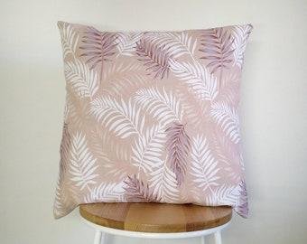 Tropical pink Palm leaf print cushion cover
