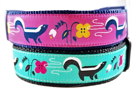 Lil' Stinker - Dog Collar, Handmade, Adjustable, Pet Accessories, Skunk, Flowers, Pet Lover, Gift Idea, Large Dog Collar , Stinky Dog, Farts