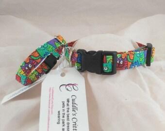 Cat Collar, Breakaway Cat Collar, Small Collar, Adjustable collar, personalized collar, rainbow cat collar, collier de chat, collar de gato