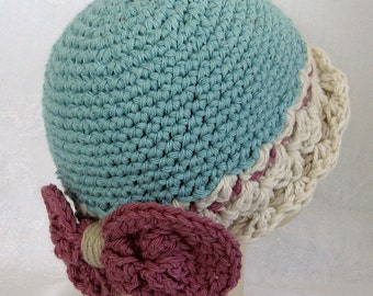 Baby Girls Crochet Cotton Hat With Large Bow Trim And Wide Brim Fits Babies 3-6 Months Ready To Ship