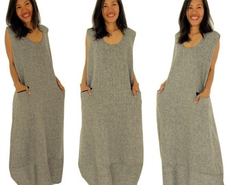 HE200GR plus size dress layered look balloon dress handmade oversize without arm herringbone GR 44 46 48 50