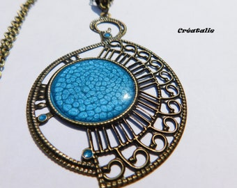 Necklace pendant steampunk resin turquoise Prism 70cm