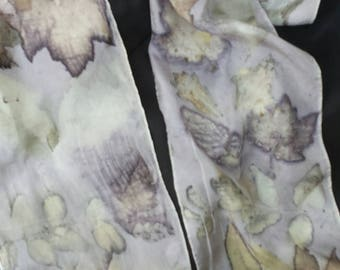 """ECO Printed Silk Scarf, Exclusive Designs & Colors from Mother Nature, Maple, Pecan Leaves, Original, Sustainable Organic Art, 8"""" x 72"""""""