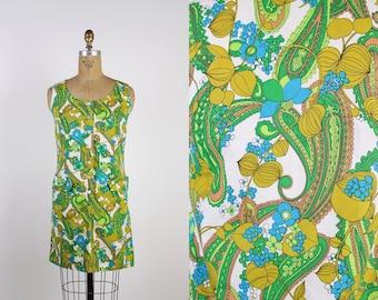60s MOD Psychedelic Flower Power Sleeveless Scooter Dress / 1960s Mini Dress / Mod Dress / Size XXS/XS