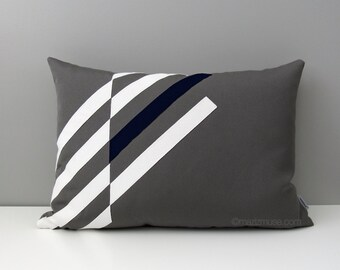 Grey & Navy Blue OUTDOOR Pillow Cover, Modern Geometric, Decorative Throw Pillow Case, Gray White, Masculine Sunbrella Cushion, Mazizmuse