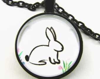 Girl's WHITE RABBIT Necklace -- Cotton tail bunny rabbit with grass and flowers, Fairy tale Bunny, Gift for a youngster