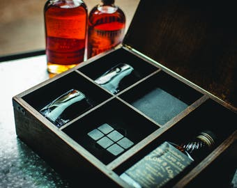 Whiskey Box with two low-ball glasses, soapstone coasters and six soapstone whiskey stones