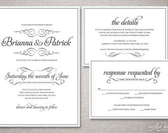 "Romantic Calligraphy ""Bianca"" Wedding Invitation Suite - Traditional Classic Script Invitations - DIY Digital Printable or Printed Invite"
