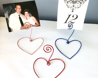 Name Card Holder w/Wire Heart Base, Wedding Favor, Wire Card/Photo Holder, Heart Decor, Heart, Wedding Table Decor, Wedding Place Setting