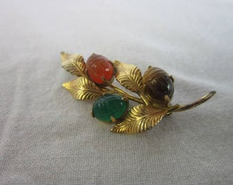 Vintage Estate Signed WRF Gold Filled & Semi Precious Stones Leaf and Berry Brooch