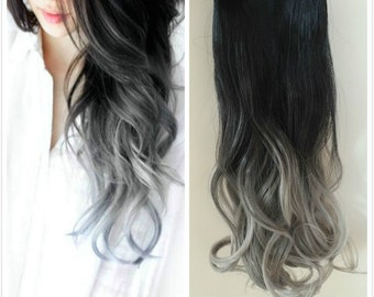 One Piece Dip dye Clip in Hair extensions Ombre Natural black to Silver gray