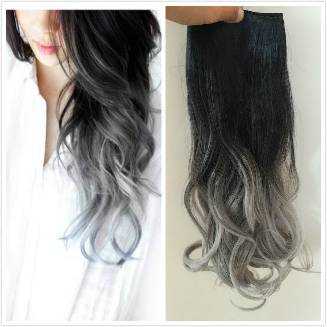 One Piece Dip Dye Clip In Hair Extensions Ombre Natural Black